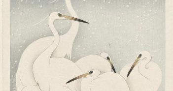 shoson_egrets-on-a-snowy-night