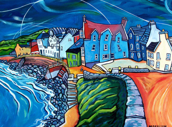 Lahinch - acrylic painting by Phillip Morrison, Ireland