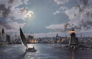 john-stobart_Nantucket-The Island-Port-by-Moonlight