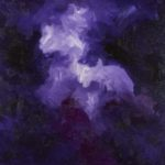 "Purple series #1 oil on canvas  amethyst, pyrite 48x48"" 122x122cm depth 2"""