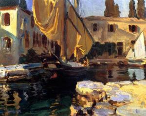 Sargent_san-vigilio-a-boat-with-golden-sail-1913