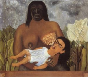 My Nurse and I, 1937 oil on metal 12 x 13.6 inches by Frida Kahlo