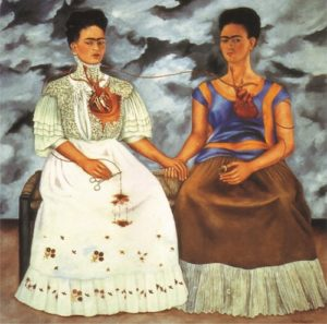 The Two Fridas, 1939 oil on canvas 68.3 × 68 inches by Frida Kahlo