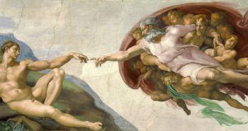 "The Creation of Adam, c. 1512 fresco, 9' 2"" × 18' 8""  by Michelangelo"