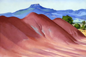 Pedernal with Red Hills, 1936 oil on linen 19 3/4 x 29 3/4 inches by Georgia O'Keeffe