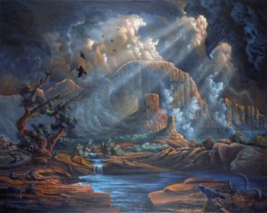 Thunder Mountain oil on canvas by Bearcloud