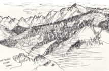"""""""Mont Blanc"""" pen and ink sketch by Edward Abela"""