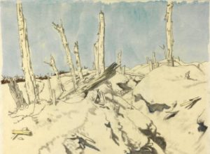 A Trench, Thiepval: German Wire, 1917 by Sir William Orpen (1878-1931)