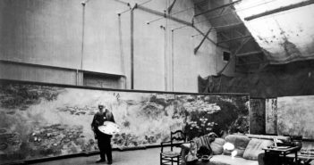 Claude Monet (1840-1926) in his studio at Giverny, 1920.