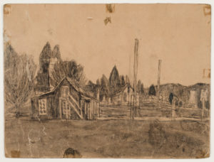 Untitled (House in landscape), n.d. soot on found paper 9 x 12 inches by James Castle (1899-1977)