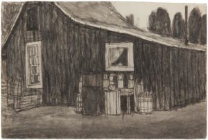 Untitled (Exterior Barn), n.d. soot on found paper by James Castle