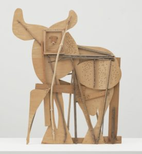 Bull, c. 1958 Plywood, tree branch, nails, and screws 46 1/10 × 56 7/10 × 4 1/10 inches by Pablo Picasso