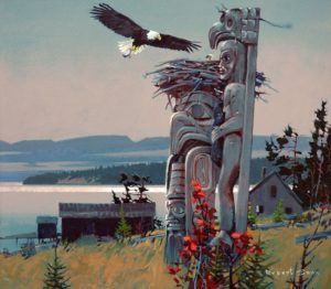 """The Eagle Returns,"" acrylic on canvas, 30 x 34 inches by Robert Genn — a permanent gift to the American Bald Eagle Foundation, Haines, Alaska."