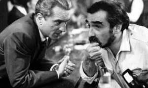 Robert De Niro and Martin Scorsese on the set of Goodfellas, 1990