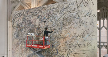 Julie Mehretu at work, 2017.