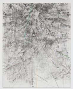Mogamma (A Painting in Four Parts): Part 2, 2012 ink and acrylic on canvas 180 x 144 inches by Julie Mehretu
