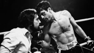 Martin Scorsese and Robert De Niro on the set of Raging Bull, 1980
