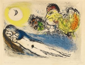 Bonjour sur Paris, 1952 color lithograph on wove paper  40.3 x 54 cm by Marc Chagall