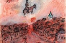 Repos sur coq et chevauchée au village rouge, ca. 1975–1978 gouache, tempera and ink on paper 65.3 x 50 cm by Marc Chagall (1887–1985)