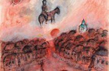 Repos sur coq et chevauchée au village rouge, ca. 1975–1978 gouache, tempera and ink on paper 65.3 x 50 cm by Marc Chagall (1887–1985)
