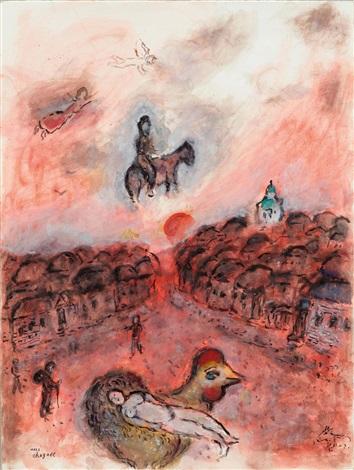 marc-chagall-repos-sur-coq-et-chevauche--e-au-village-rouge