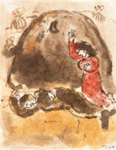 Ruth aux pieds de Booz, 1960 watercolor, Indian ink pen and wash on paper 33 x 26 cm by Marc Chagall