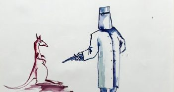 Ned Kelly Holding up a Kangaroo, 2009 Gouache on textured paper 56 × 83 cm by Adam Cullen (1965-2012)