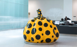 Pumpkin (2014) at the Cleveland Clinic by Yayoi Kusama (b.1929) Steve Travarca photo