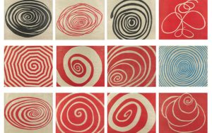 Spirals, 2005 Suite of 12 woodcuts on smooth, thin, handmade Echizen Shikibu Gampi paper 36.6 × 42.2 cm by Louise Bourgeois