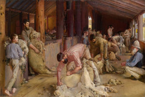 Shearing the Rams oil on canvas 122.4 cm × 183.3 cm by Tom Roberts (1856-1931)