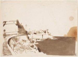Coastal View (France), 1960 pen and brown ink, wash on ivory wove paper 27.8 x 37.8 cm by Brett Whiteley