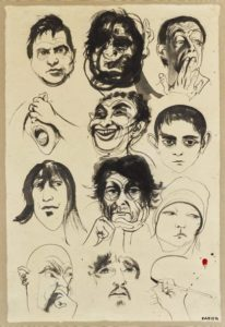 Head Studies, circa 1971 brush and black ink, wash, mounted on a scroll 175.8 x 83.0 cm by Brett Whiteley