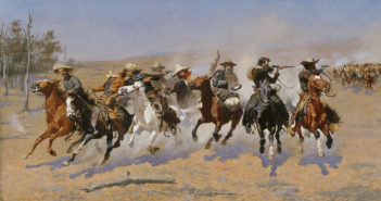 A Dash for the Timber, 1889 oil on canvas by Frederic S. Remington (1861-1909)