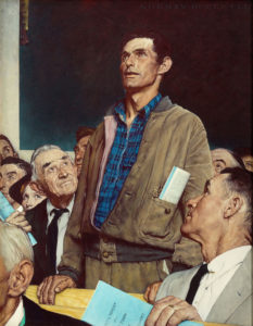 "Freedom of Speech, from the ""Four Freedoms"" series, 1943 Story illustration for The Saturday Evening Post, February 20, 1943 by Norman Rockwell"