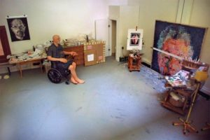 Diorama of Chuck Close in his studio (c. 2000 - 2019) by Joe Fig