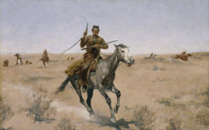 The Flight, c. 1894 oil on canvas by Frederic Remington
