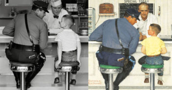 The Runaway (1958) photograph (left) oil painting (right) 35 x 33 inches  by Norman Rockwell (1894-1978)