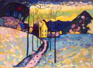 Winter Landscape, 1909 Oil on cardboard 29.7 × 38.4 inches by Wassily Kandisnky (1866-1944)
