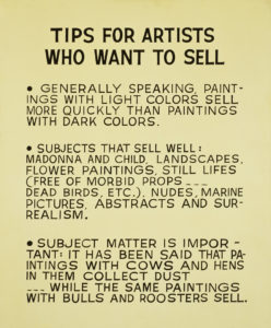 Tips For Artists Who Want To Sell, 1966-68 acrylic on canvas 68 1/4 x 56 1/2 x 1 1/2 inches by John Baldessari (1931-2020)