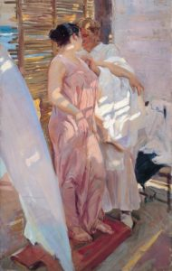 The Pink Robe, 1916 oil on canvas 208 x 126.5 cm by Joaquin Sorolla