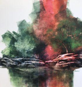 Watercolour on clayboard by Pamela Haddock