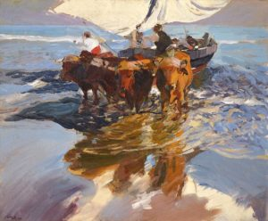 The return from fishing, Valencia beach, 1908 oil on canvas 90 x 110 cm by Joaquin Sorolla