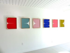 New Alphabet, 2020 acrylic on canvas 21.5 x 17.5 inches each by Sara Genn