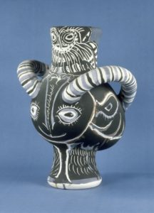 Two-Handled Vase with Faun's Head and an Owl, 1961 painted earthenware 23 × 17 1/2 × 15 inches by Pablo Picasso