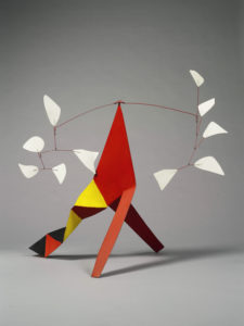Five White Against Five White, 1973 Painted metal and wire standing mobile 41 × 48 × 29 inches by Alexander Calder