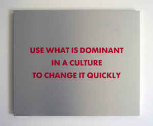 Selection from the SURVIVAL SERIES (Use what is dominant...), 1983-1985 Silkscreen on brushed aluminum 15 × 18 × 1 inches by Jenny Holzer