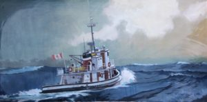 The Swell on Mudge, 1980 acrylic on canvas 24 x 47.5 inches by Robert Genn (1936-2014)