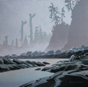 Village in the Mist, c. 1996 acrylic on canvas 30 x 30 inches by Robert Genn