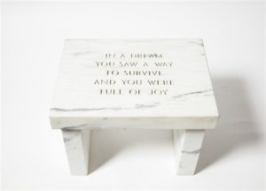 In a dream you saw a way to survive and you were full of joy , 1997 Medium: White Marble 17 x 23 x 17.2 inches by Jenny Holzer