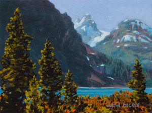 Bow Lake Towards Bow Glacier Acrylic on canvas 12 x 16 inches by Justin Beckett
